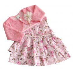 Vestido  de Bebê Floral - vestido com bolero