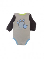 Body  de Bebê Manga Longa Cão Bege