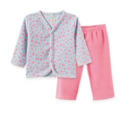 Pijama  Infantil de Soft com Botões - Corações